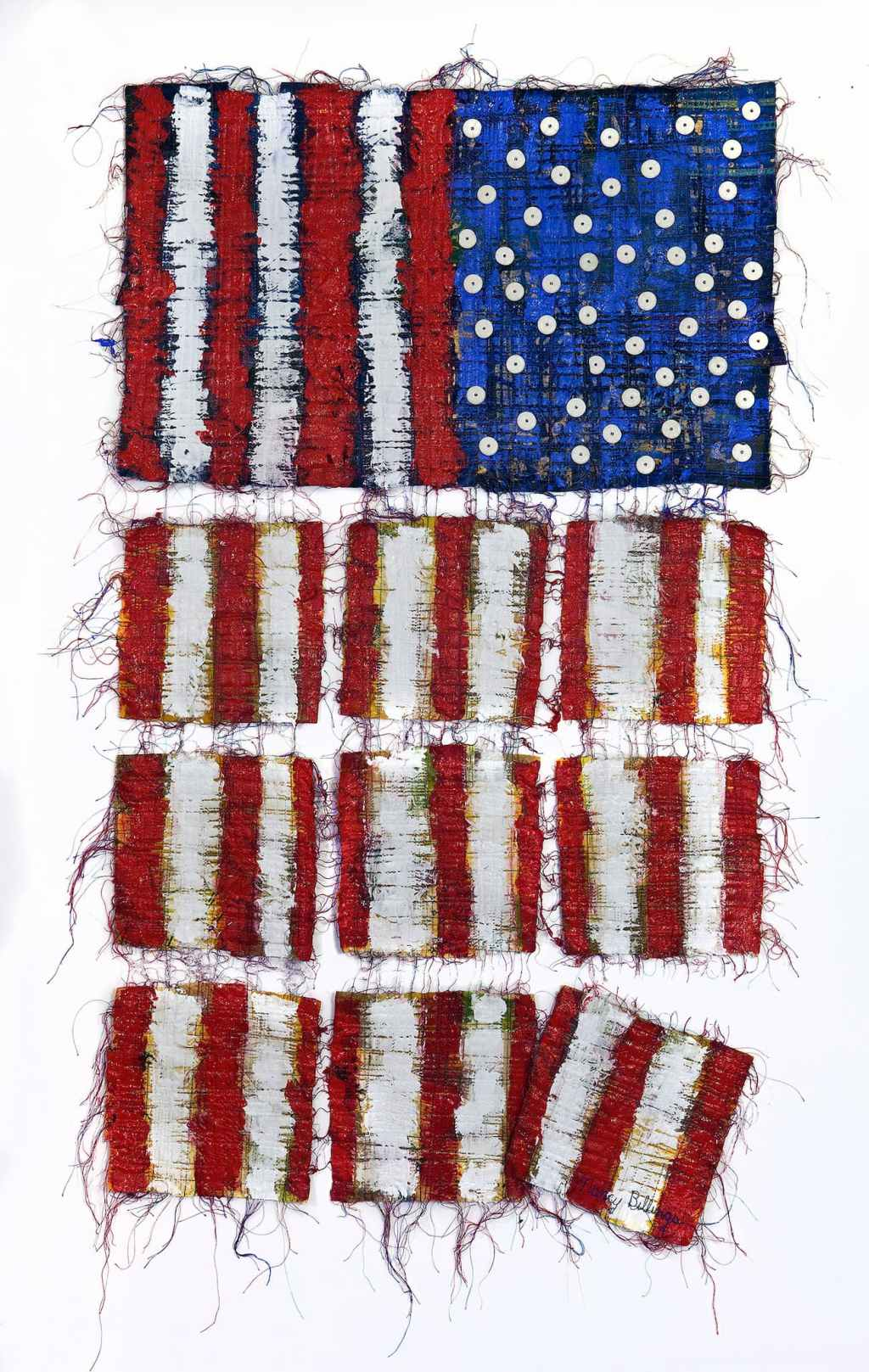 Craft in America Center, Flag Share 2020 Beyond, Nancy Billing, Democracy...Hanging By A Thread I, 2020