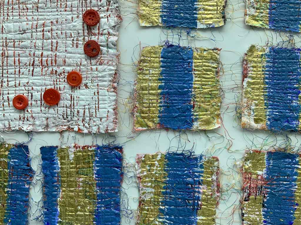 Craft in America Center Flag Share 2020 Beyond Nancy Billing, _Democracy...Hanging By A Thread II (Detail), 2020
