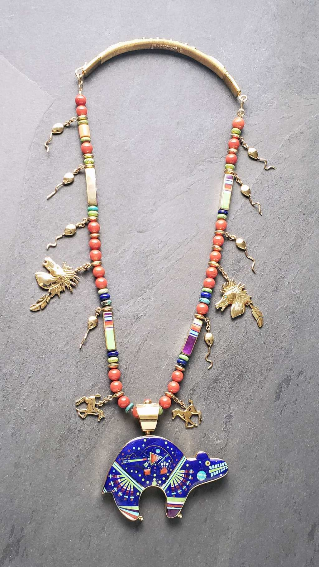 Jesse Monongya, Bear Necklace, 2004. Denise Kang photo. JEWELRY episode of Craft in America