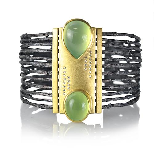 Rebecca Myers Design - Multi Branch Prehnite Cuff, Craft in America