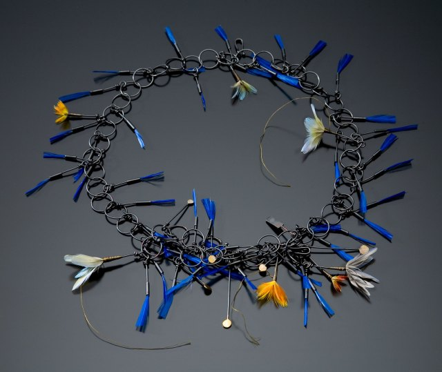 Gabrielle Gould, Indigo Lariat Necklace. Courtesy of the artist. JEWELRY episode of Craft in America