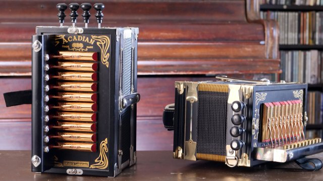 Marc Savoy, Accordions. Denise Kang photo. HARMONY episode. Craft in America
