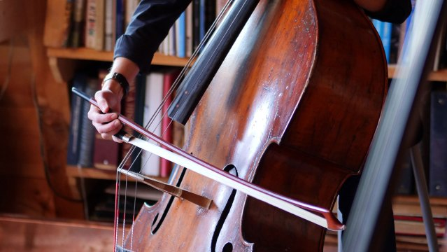 Double Bass Player Lizzie Burns with her Susan Lipkins bow. Denise Kang photo. HARMONY episode of Craft in America