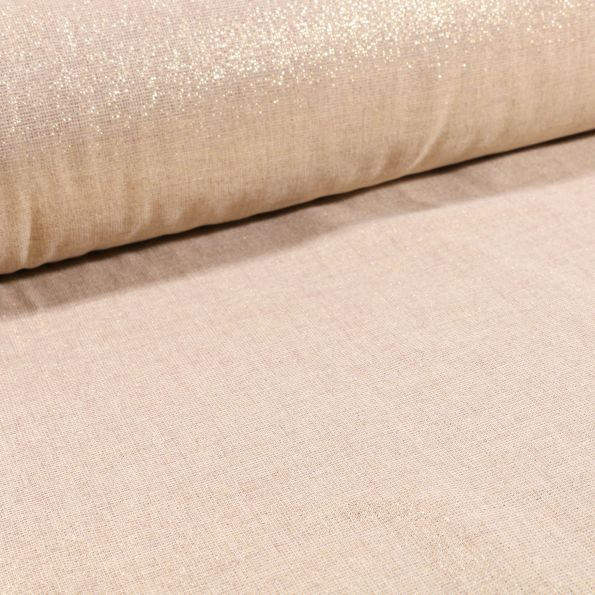 voilage aspect lin grande largeur lurex or sur fond beige par 10 cm
