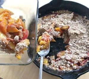 Serving Peach Crisp Cast Iron Skillet