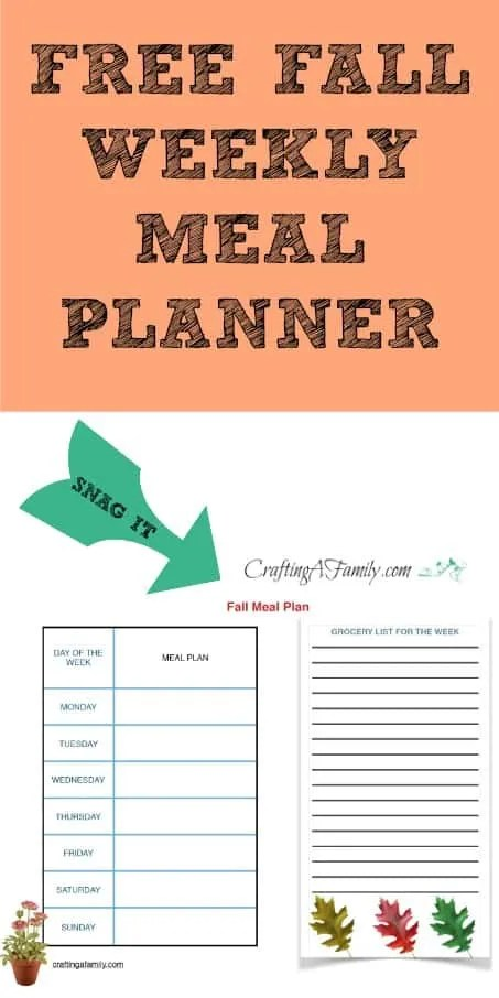 Sign up with your email and get this Free Meal Planner, It make the week meal planning a snap.