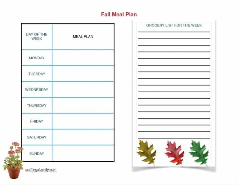 Weekly Meal Planning | Free Printable
