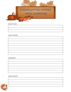 Thanksgiving Dinner Menu Planning Printables Menu Planning