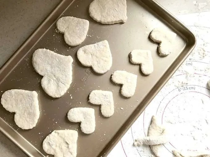 Every Valentine's Day we use cookie cutters to cut out heart shaped Bisquick biscuits as a symbol of my deep love for our children.