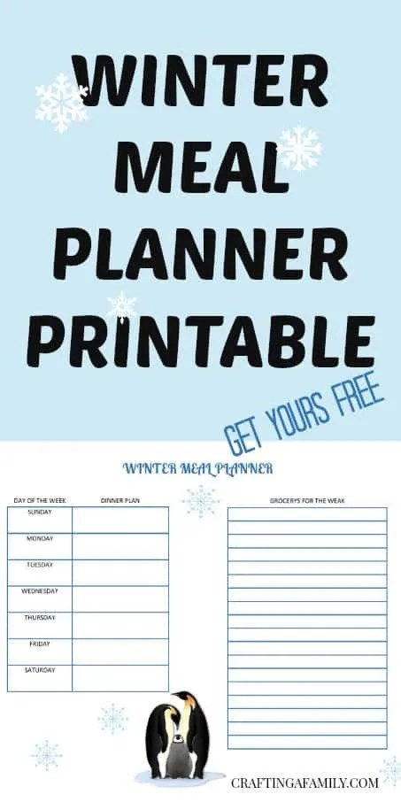 WINTER MEAL PLAN PRINTABLE