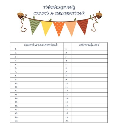 Thanksgiving Day Planner Free Printable