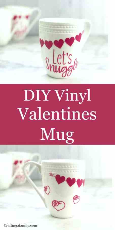 White coffee mugs with red vinyl hearts and Let's Snuggle