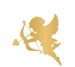 Valentines DIY Vinyl Coasters gold cherub vinyl decal