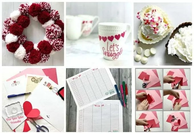 Fun Valentines Party Ideas pom pom wreath, white mug with pink hearts, white and dark chocolate heart candies valentines letters time blocking paper red hearts