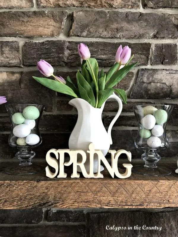 Farmhouse Mantel with bunnies and tulips