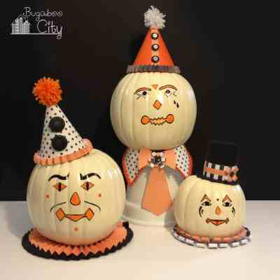 DIY Vintage Clown Pumpkins – Decorating with Paper and Paint!