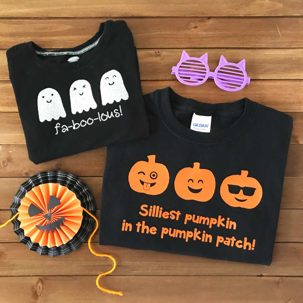 DIY Iron-On Vinyl Halloween Shirts - Free SVG Cut FIle