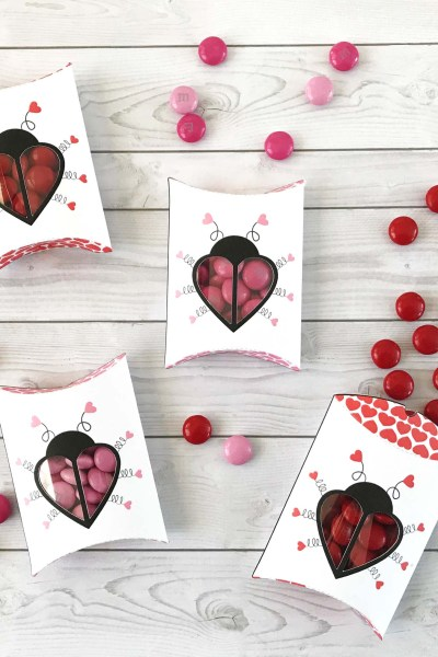 Free Printable Love Bug Pillow Boxes