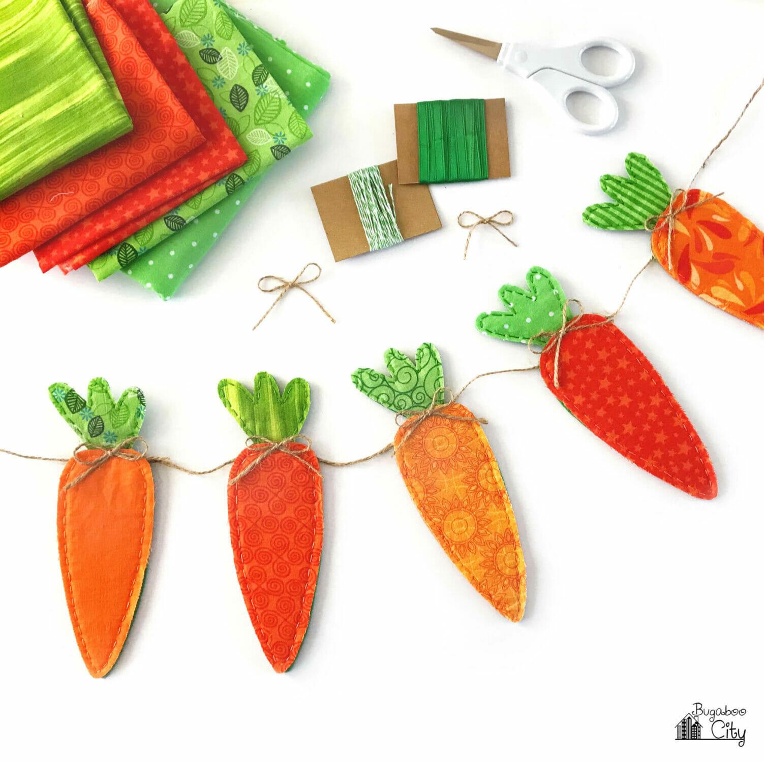 DIY Fabric Carrot Banner for Easter