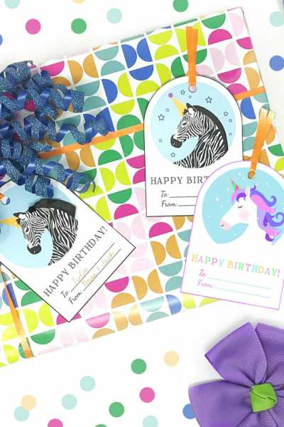 Free Printable Unicorn and Zebra Happy Birthday Tags