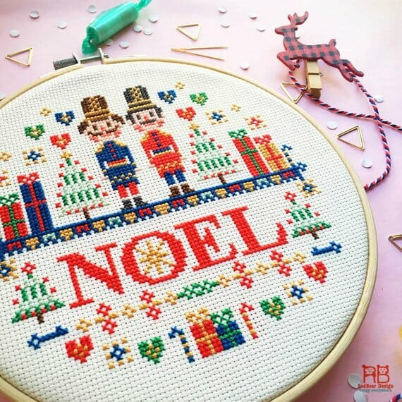 Nutcracker Christmas Cross Stitch Kit by Red Bear Design