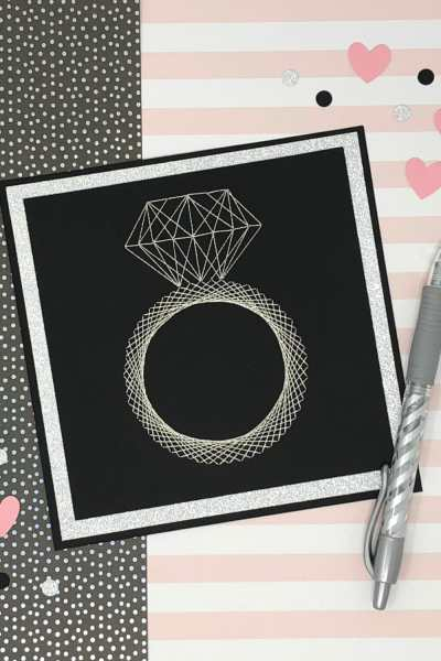 DIY Embroidered Wedding Card with Free Template