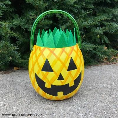 DIY Pineapple Jack-o'-Lantern Treat Bucket