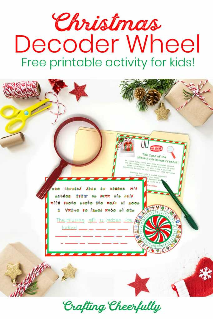 Christmas Decoder Wheel - Free Printable Activity for Kids. Flat lay picture of the free printables.