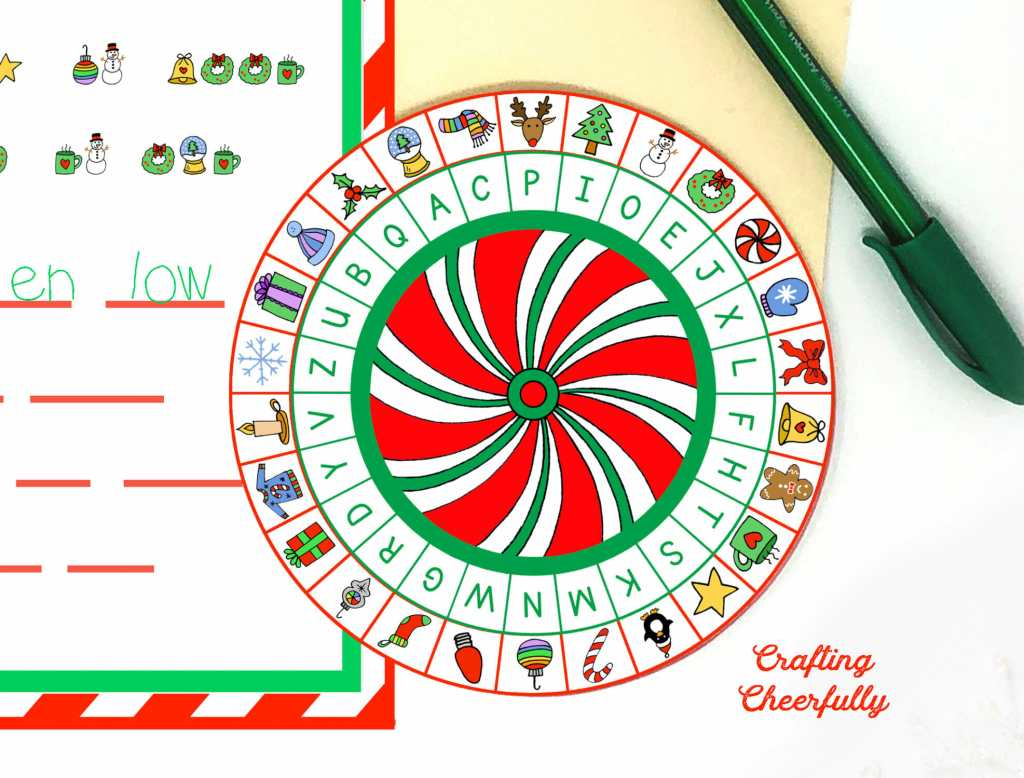 Close up picture of Christmas Decoder Wheel printable! Peppermint swirl in the center with letters and lots of little christmas symbols.