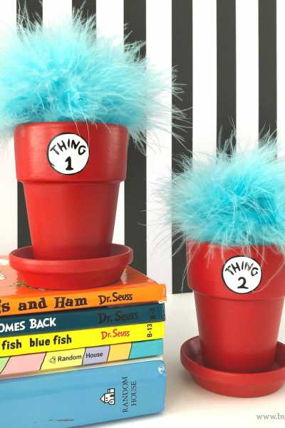 Dr. Seuss Craft – Thing 1 and Thing 2 Flower Pots