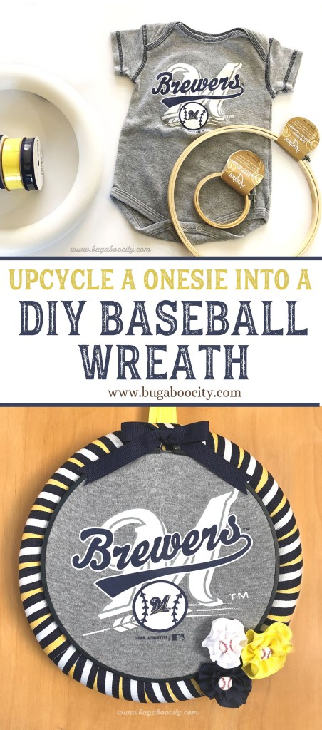 Upcycle a onesie into a DIY Baseball Wreath