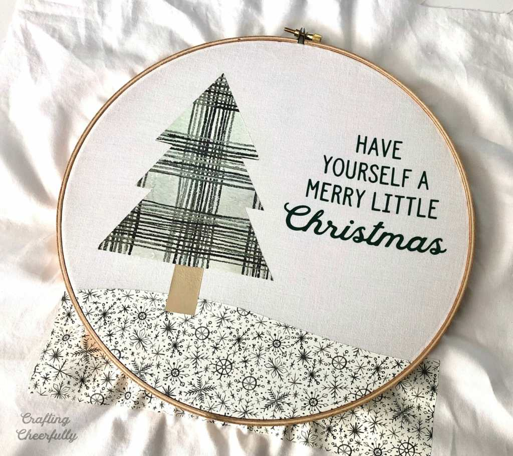 Holiday Embroidery Hoop with Cricut Patterned Iron-On
