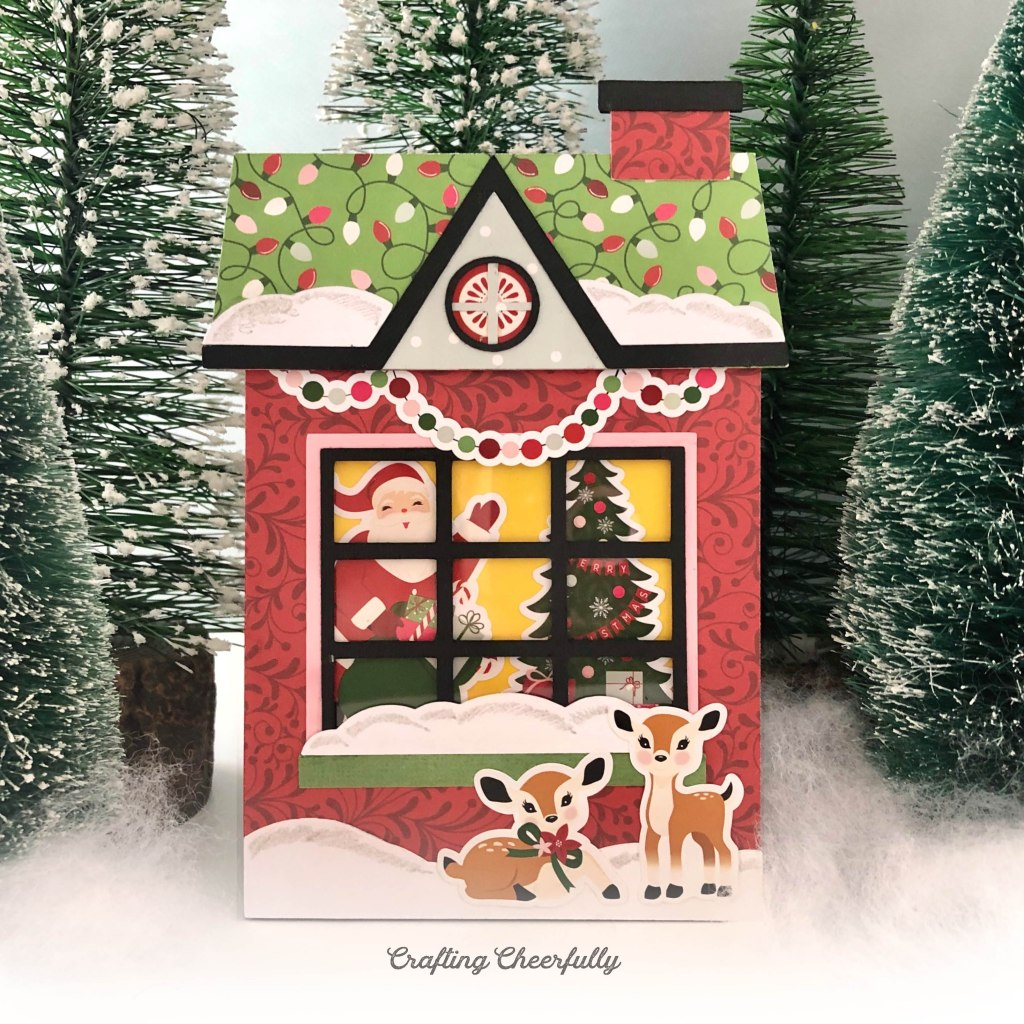 Christmas Cottage Slider Card SVG Cut File