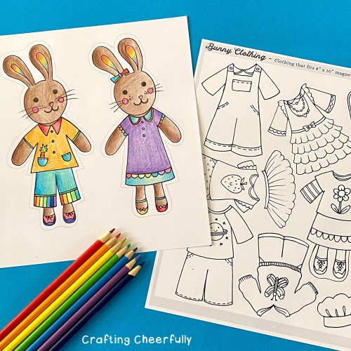 Color Your Own Bunny Paper Dolls