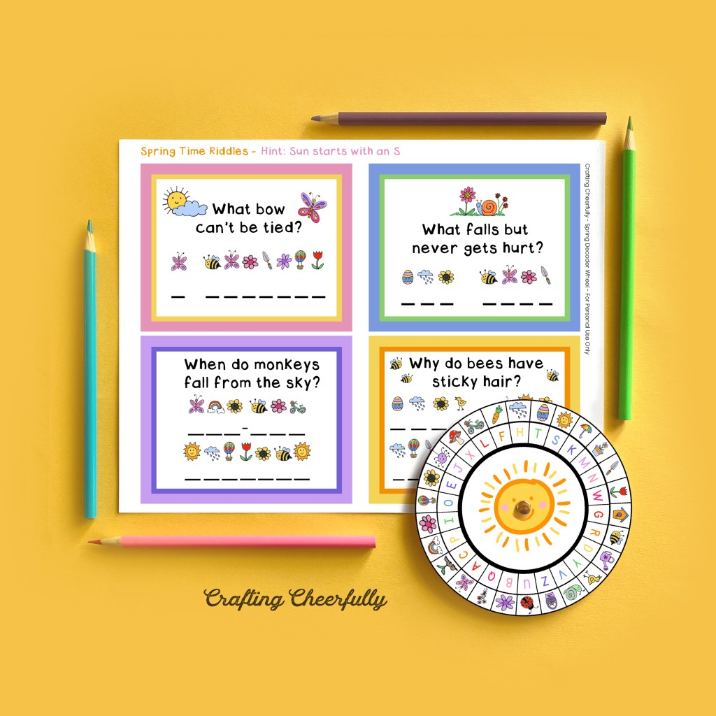 Spring Decoder Wheel Activity on a yellow background with colored pencils framing it.
