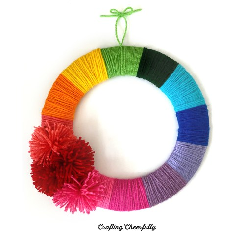 DIY Yarn Rainbow Wreath