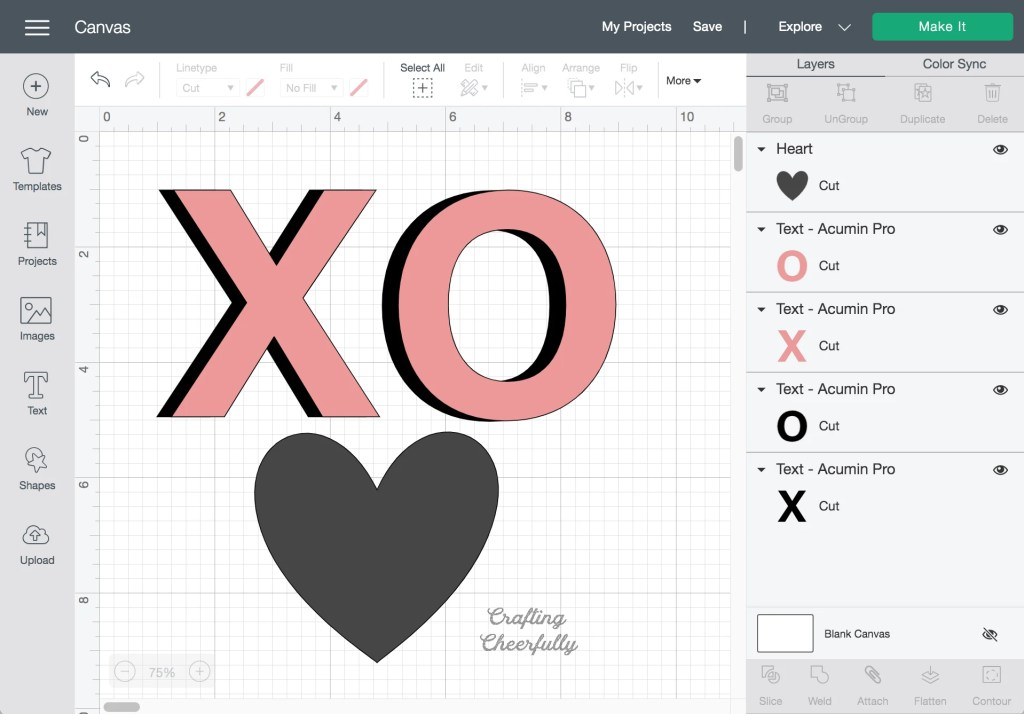 Banner design in Cricut Design Space consisting of an X, O and heart.