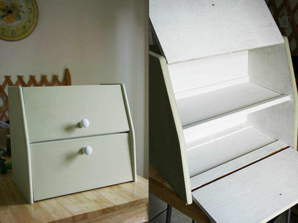 Bread bin before and after Annie Sloan Chalk Paint® | Crafting Fingers
