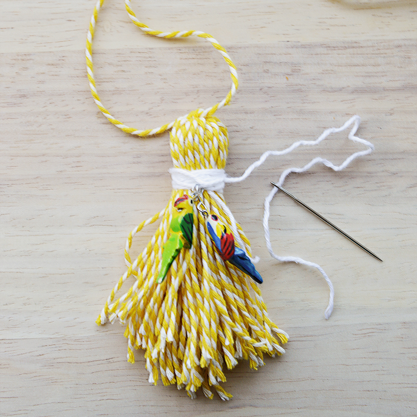 How to add charms to a tassel | craftingfingers.co.uk
