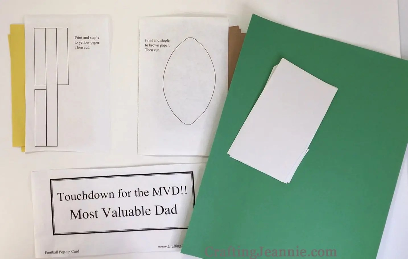 fathers day football craft printable ready for cutting