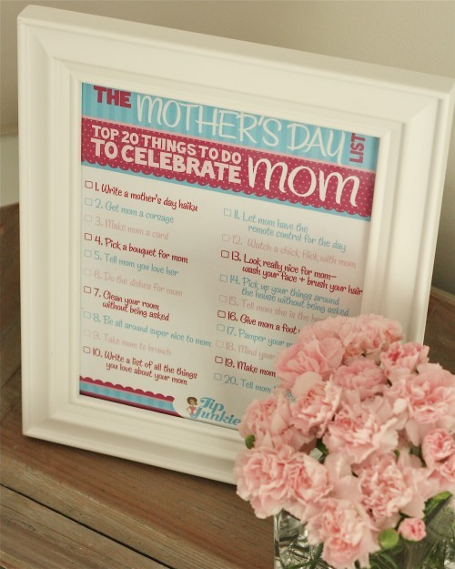 Mothers day printable to do for mothers