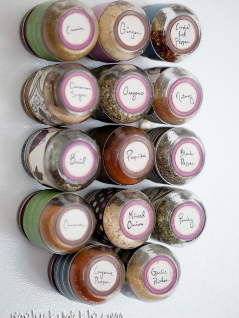 wall mounted spice rack with jars