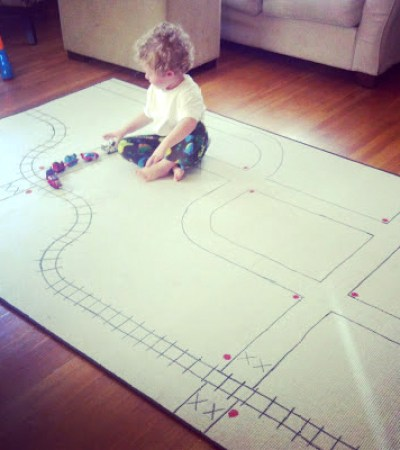 rug backside train track