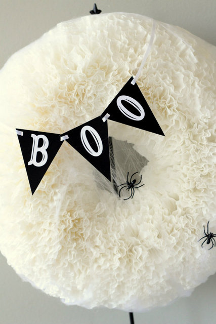 BOO coffee filter wreath