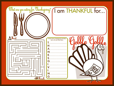 thanksgiving activity placemat printable