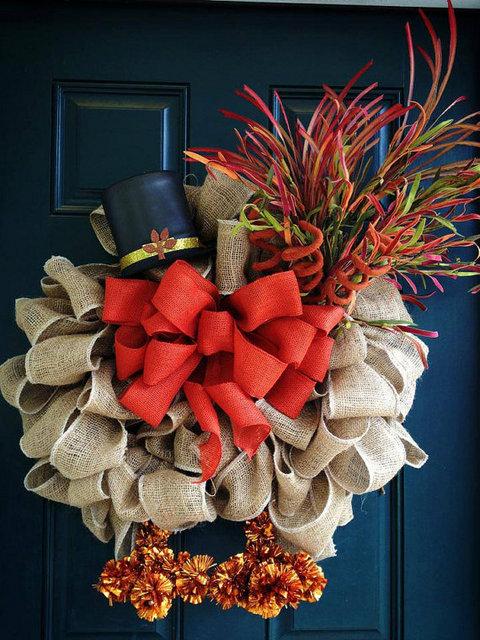 burlap turkey wreath idea