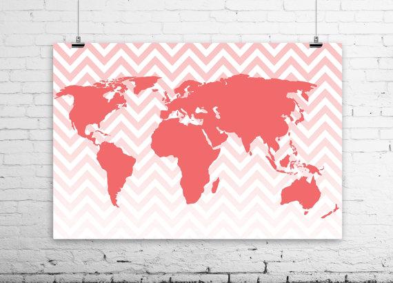 modern world map print