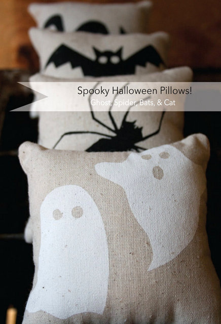 Halloween ghost stenciled pillow