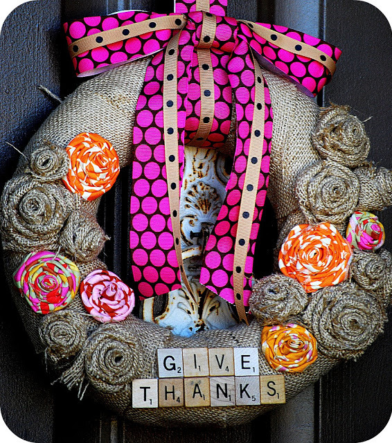 burlap give thanks wreath