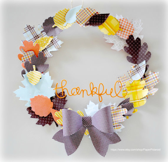 paper thanksgiving wreath